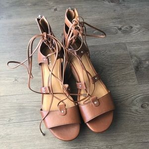 Coach | NWOT Barkley Brown Lace Up Wedge Sandals